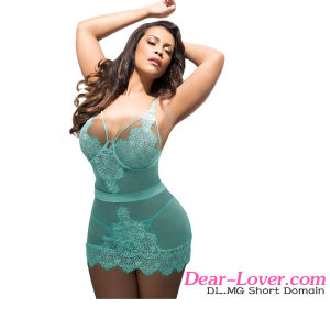 Plus Size Acid Blue Eyelash Lace Chemise Lingerie pictures & photos