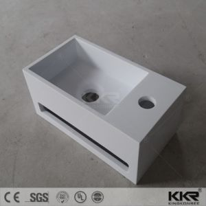 White Acrylic Stone Wall Hung Corner Wash Basin for Bathroom pictures & photos