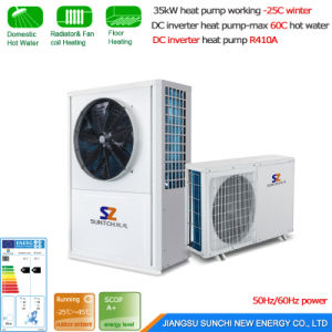 Running -25c Cold Winter House Floor Heating -15c Glycol Loop Evi10kw/15kw DC Inverter Geothermal Heat Pump Ground Source Water Heater pictures & photos