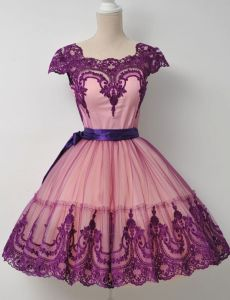 Mini Party Prom Gowns Purple Cream Lace Cocktail Homecoming Dresses 2018 Y1026 pictures & photos