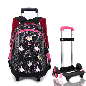 Kids Lovely Children Girls Wheel Trolley Rolling School Bag pictures & photos