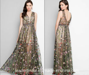 Flowers Lace Evening Dress A-Line Sexy Prom Dress Z214 pictures & photos