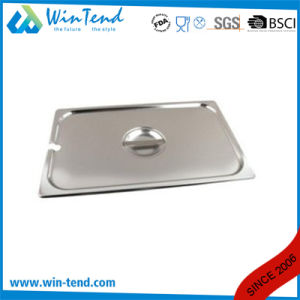 Stainless Steel Gastronorm Gn Container Pan Lid with Notched Spoon Recess pictures & photos