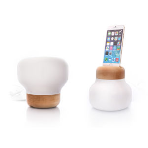 Modern White Glass Reading Table Light with iPhone 6 Charger