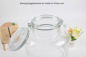 Home Large Class Beverage Storage Jar /Juice Jar with Airtight Glass Lid pictures & photos