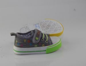 2016 Kid/Child Fashion Casual Wholesale Hook & Loop Injection Canvas Shoes pictures & photos