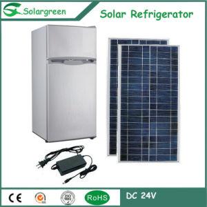 Two Door Solar Refrigerator Mini Fridge with Top Freezer pictures & photos