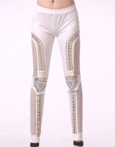 2017 New Fashion Netting Leather Women Leggings with Metal Decoration pictures & photos