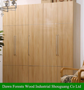 Five Doors Light Walnut Wardrobe Closet. pictures & photos