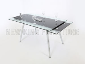Modern Extendable Temper Glass Top Chrome Steel Foot Dining Table (NK-DT006)