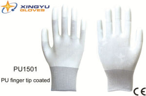PU Finger Tip Coated Safety Work Glove (PU1501) pictures & photos