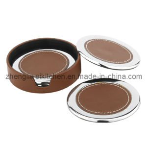 4 PCS Cup Coaster in Round Leather Case (600016) pictures & photos