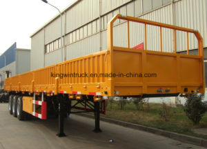 China Three-Axle Dropside Flatbed Semi Trailer pictures & photos