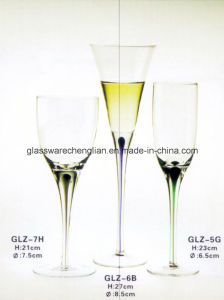 Wine Glass with Colored Tearful Stem (GLZ-7H) pictures & photos