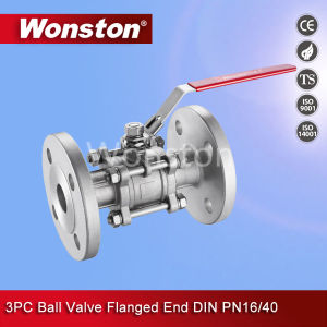 Stainless Steel 3PC Ball Valve Flange End DIN Pn16/Pn40 pictures & photos