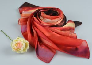 100%Silk Stripe Scarf Fashion Silk Square Scarf 15060010801-2 pictures & photos