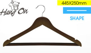 Flat Wooden Clothes Hanger with Anti-Slip Bar (TPL022)