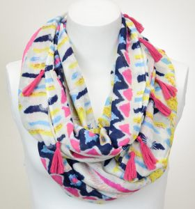 Spring&Summer Oversize Printed Tassels Viscose Cotton Infinity Scarf Shawl pictures & photos