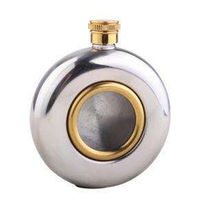 5oz Brass Porthole Round Hip Flask (QL-YX05)