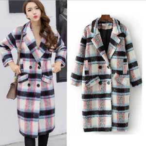 Elegant Women Winter Wool Wind Coat Plaid Girl Overcoat with Pockets pictures & photos