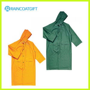 Durable Yellow PVC Polyester Rain Jacket pictures & photos