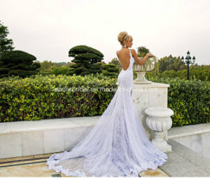 Backless Lace Bridal Gowns Spaghetti Mermaid Beach Wedding Dresses Z2028 pictures & photos