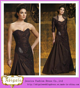 Elegant Hot Sale Taffeta Appliques Beaded Sequins Sweetheart A-Line Brown Sleeveless Mother of The Bride Lace Dresses Yj0106