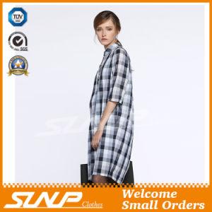 Women′s Cotton Plaid Half Sleeve Flannel Shirt pictures & photos
