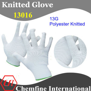 13G White Polyester Knitted Glove with Green Over Lock pictures & photos