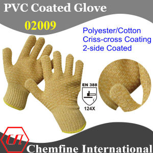 10g Brown Polyester/Cotton Knitted Glove with 2-Side Brown PVC Criss-Cross Coating/ En388: 124X pictures & photos