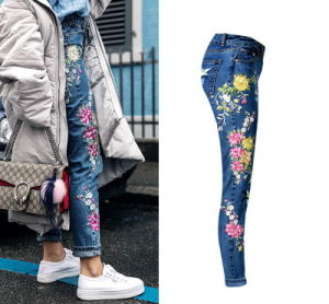 Women Jeans High Waist Embroidery Lady Straight Denim Pants Jeans pictures & photos