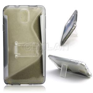 Fashion S Line Wave Design TPU Case with PC Kickstand for Samsung Galaxy S5 I9600