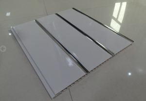 250X8mm Flat Panel with Three Silver Line PVC Ceiling/Wall Panel