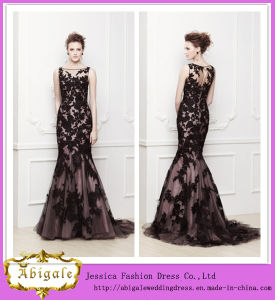 2014 New Black Appliques Boat Neck Zipper Back Sleeveless Mermaid Lace Prom Dress Yj0077