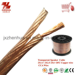 OFC Copper Wire Transparent Speaker Cable 2X4mm 2X6mm pictures & photos