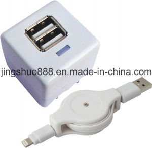 2 in 1 Travel Phone Charger Adaptor for iPhone (AC-IP5-023)