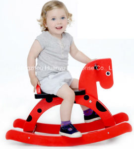 New Design Baby Wooden Rocking Horse-Black Horse Rocker with Red DOT pictures & photos