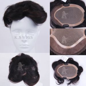 100% Human Hair Toupee Hair Extension pictures & photos