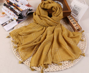 Hot Sale Plain Color Cotton Checked Lady Scarf pictures & photos