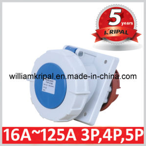 IP67 63A 2p+E Cee Angled Panel Mounted Socket pictures & photos