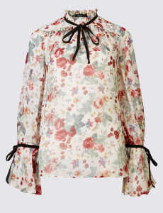 High Quality Vintage Floral Print Long Sleeve Blouse pictures & photos