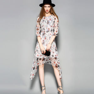 Irregular Hem Elastic Puff Floral Elegant Women Ladies Dress with Ruffle Front Fly pictures & photos
