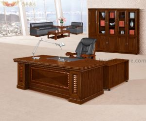 L Shape Dark Brown Color Office Table Office Furniture (HY-8718) pictures & photos