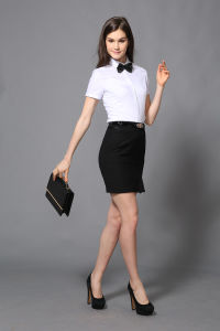 New Design Lady Short Sleeve Office Wear Formal White Shirt pictures & photos