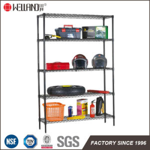 Powder Coating Black 5 Tiers Adjustable Metal Garage Wire Storage Shelving Rack pictures & photos