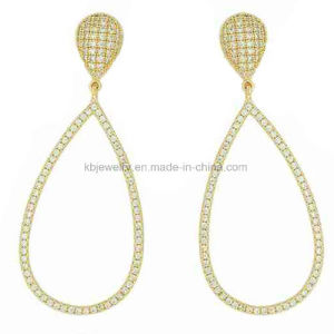 Fashion Style Earrings with CZ, Gold Plated Eardrop (KE3210) pictures & photos
