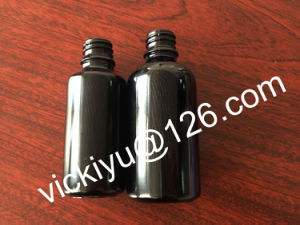 30ml Cosmetic Black Glass Bottles, 50ml Violet Black Glass Bottles for Lotion with White Pumps pictures & photos