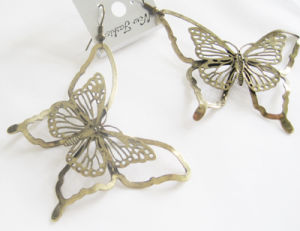 Fashion Jewelry Metal Butterfly Drop Earrings with Nickel-Free Antique Bronze Plating, Her-10092b