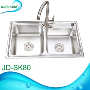 Stainless Steel 304 Kitchen Dual Sink Double Bowl with 2 Faucet Hole From Factory pictures & photos