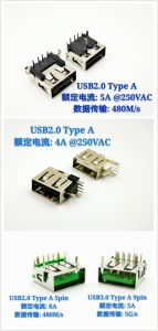 USB3.0 Type a Female Connector Current Rating: 5A @ 250VAC pictures & photos